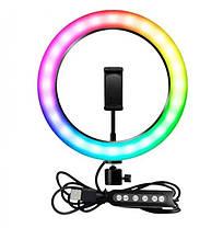 Кільцева LED лампа RGB MJ26 26см 1 крепл.тел USB, фото 3