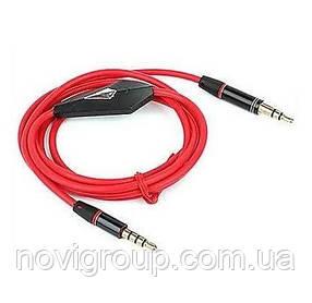 Кабель AUX з мікрофоном Audio DC3.5 тато-тато 1.0 м, CCA Stereo Jack, (круглий) Red cable, Box