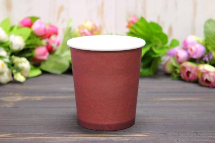 Круглая мини коробка для цветов без крышки 10*7,5*10см №8 - Бордовая, фото 2