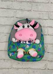 Детский рюкзак с игрушкой -коровка - зеленый