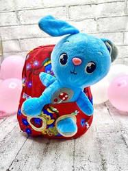 Детский рюкзак с мягкой игрушкой Зайчик 6 Цвета Красный