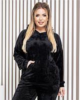 Жіночий велюровий костюм м'який плюш арт.М419 БАТАЛ чорний / чорного кольору