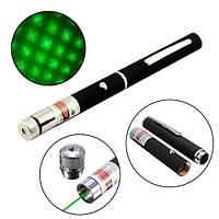 Лазер зеленый 5мВт 532нМ, лазерная указка на батарейках, насадка, 100900