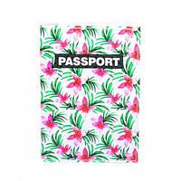 Обложка для паспорта Тропические цветы, фото 1