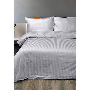Постельное белье Lotus Отель - Сатин Страйп серый 1*1 полуторный (Турция)