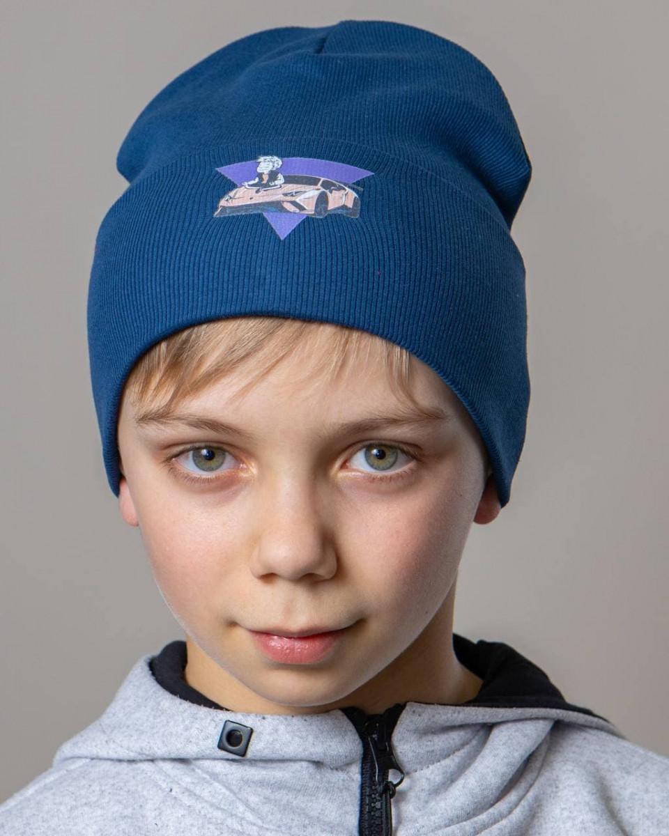 Шапка c відворотом на весну-осінь для хлопчика оптом - Артикул 2820