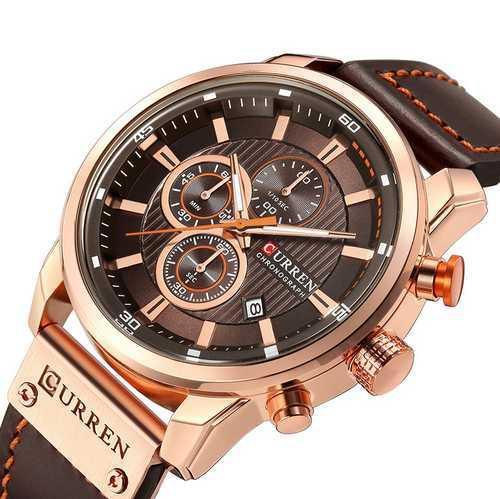 Чоловічі наручні годинники Curren 8291Cuprum-Brown Годинник з коричневим циферблатом