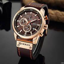 Чоловічі наручні годинники Curren 8291Cuprum-Brown Годинник з коричневим циферблатом, фото 3