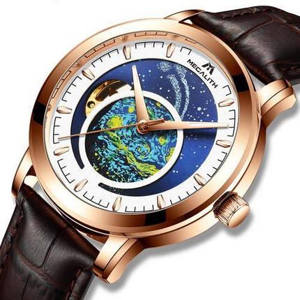 Оригінальні наручні годинники Megalith 8213M Brown-Cuprum-White | Оригінал Мегаліт, фото 2