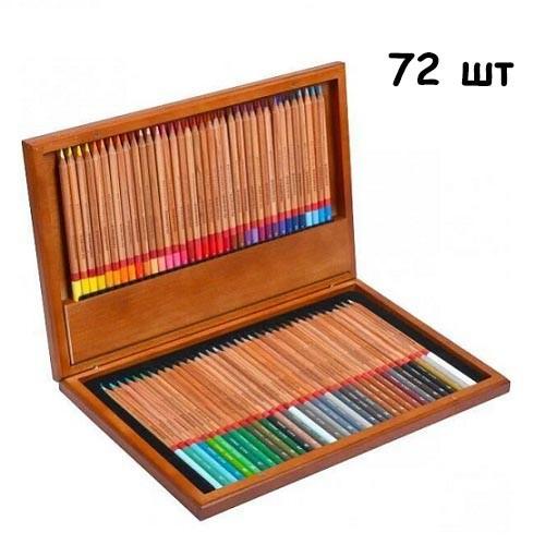 Набір різнокольорових олівців 72 шт, дерев'яний кейс Marco Renoir, подарунковий, 105042