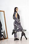 Жіночий костюм, стрейчевий велюр, р-р 42-44; 46-48 (графіт), фото 3