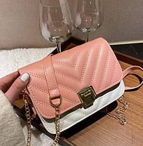 Стьобаний Fashion сумка клатч на красивому ремінці, фото 2
