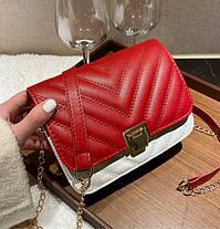 Стьобаний Fashion сумка клатч на красивому ремінці, фото 3
