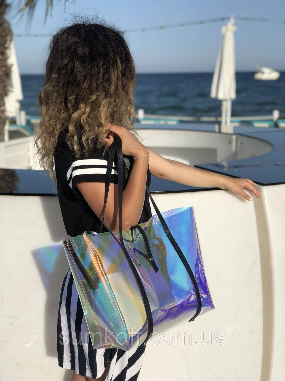Пляжна сумка! Велика жіноча силіконова сумка з клатчем 56501 перламутрова напівпрозора на плече