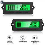 6v/12v/24v/36v/48v/63 вольтметр Універсальний Цифровий LCD - індикатор батареї тестер ємності . Зелений, фото 2