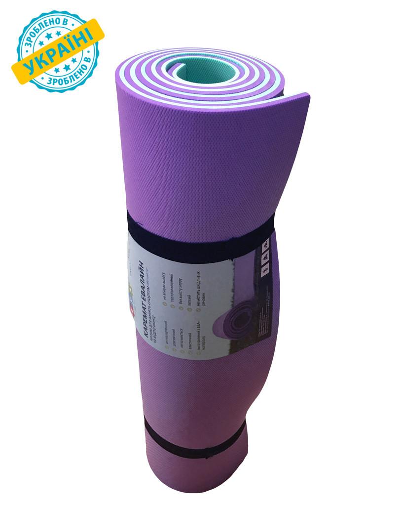 Килимок (каремат) 180*60*0.6 см для туризму і спорту Eva-Line двосторонній фіолетовий/бірюзовий