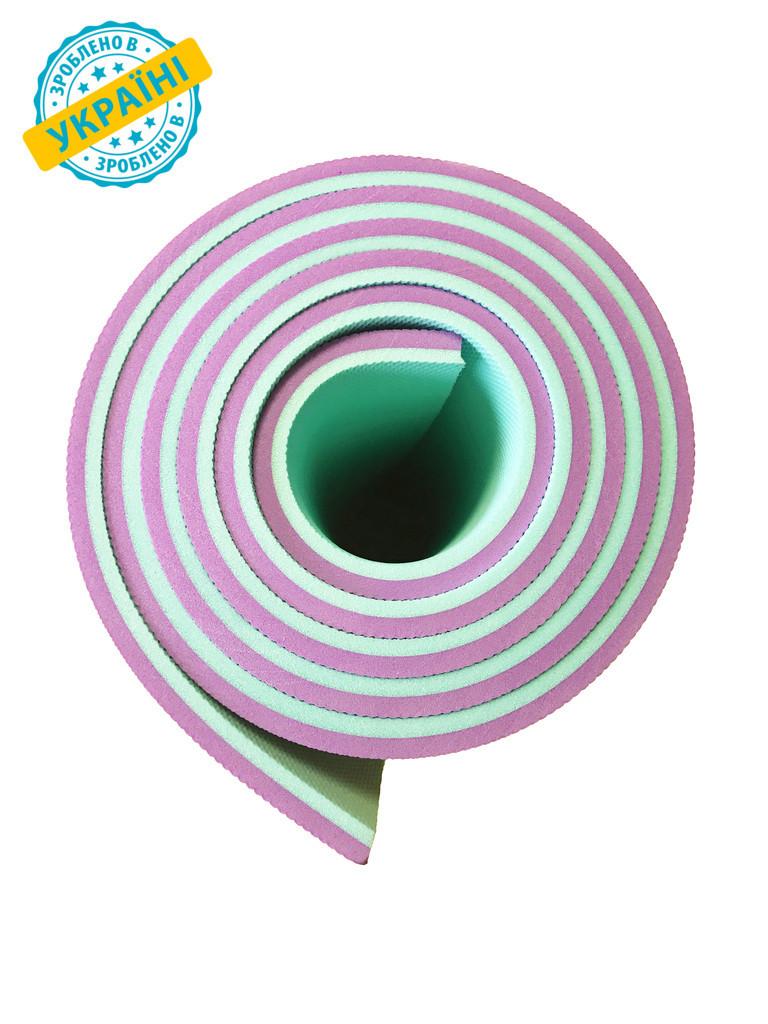 Килимок (каремат) 180*60*0.8 см для туризму і спорту Eva-Line двосторонній бірюзовий/рожевий