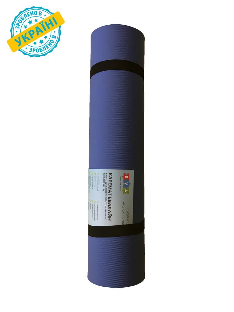 Килимок (каремат) 120*50*0.8 см для туризму і спорту Eva-Line двосторонній червоний/синій