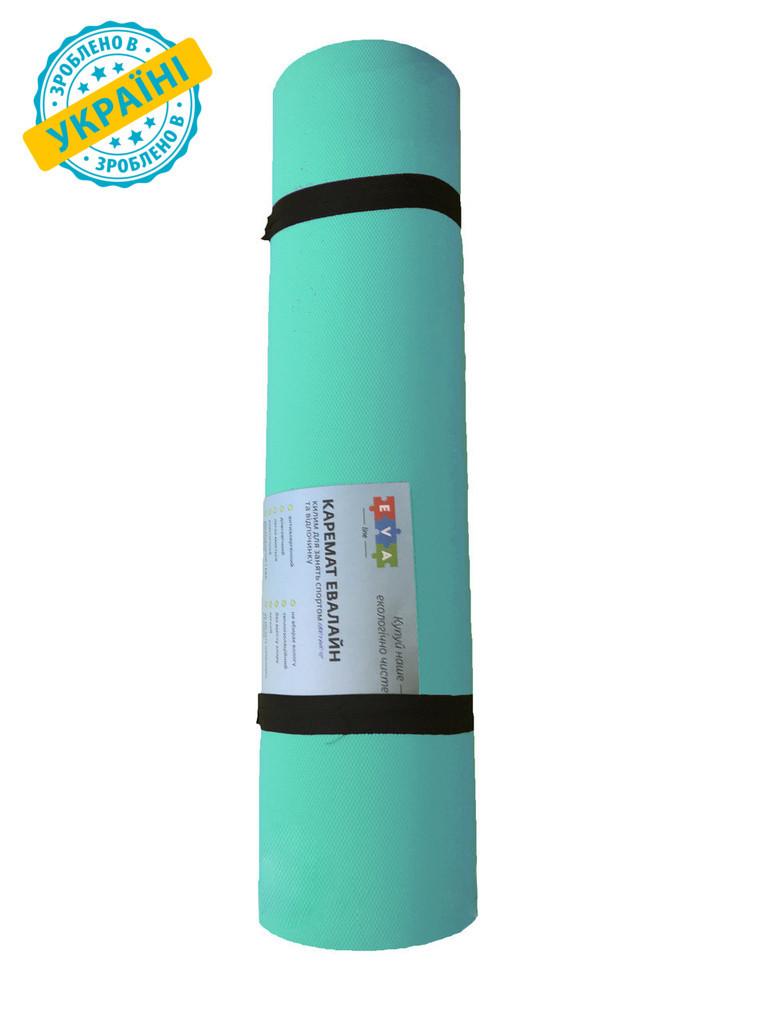 Коврик (каремат) 180*60*0.6 см для туризма и спорта Eva-Line двухсторонний бирюзовый С