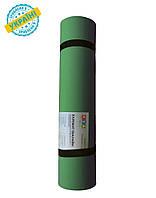Коврик (каремат) 145*50*0.5 см для туризма и спорта Eva-Line двухсторонний зеленый