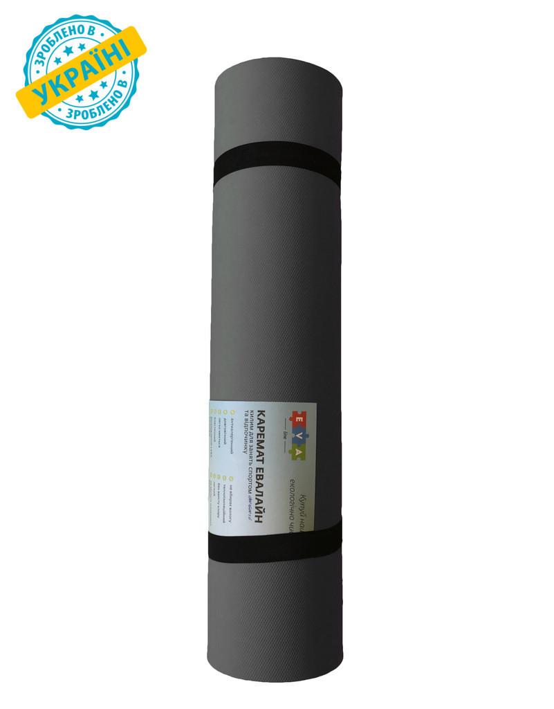 Килимок (каремат) 120*50*0.6 см для туризму і спорту Eva-Line двосторонній сірий