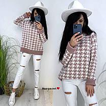 Женский стильный теплый свитер с узором лапка, фото 2