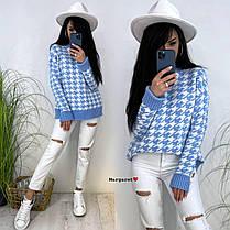 Женский стильный теплый свитер с узором лапка, фото 3
