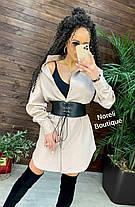 Стильное платье рубашка с воротником и кожаным корсетом, фото 3