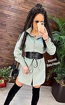 Стильное платье рубашка с воротником и кожаным корсетом, фото 2