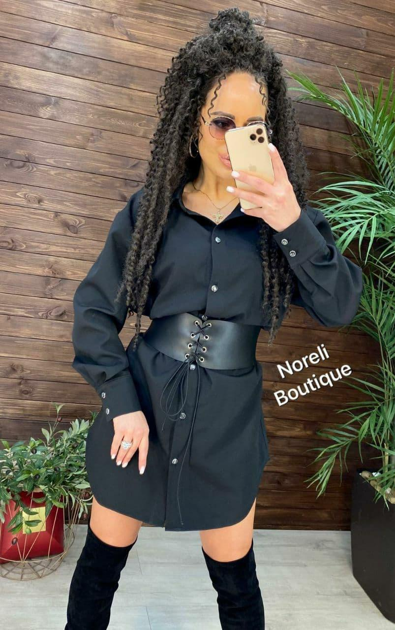 Стильное платье рубашка с воротником и кожаным корсетом