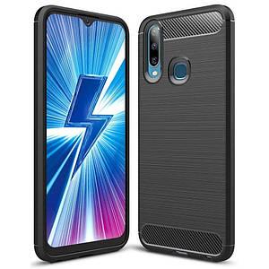 Чехол для Vivo Y11 карбоновый плотный чехол на телефон виво у11 черный PLS
