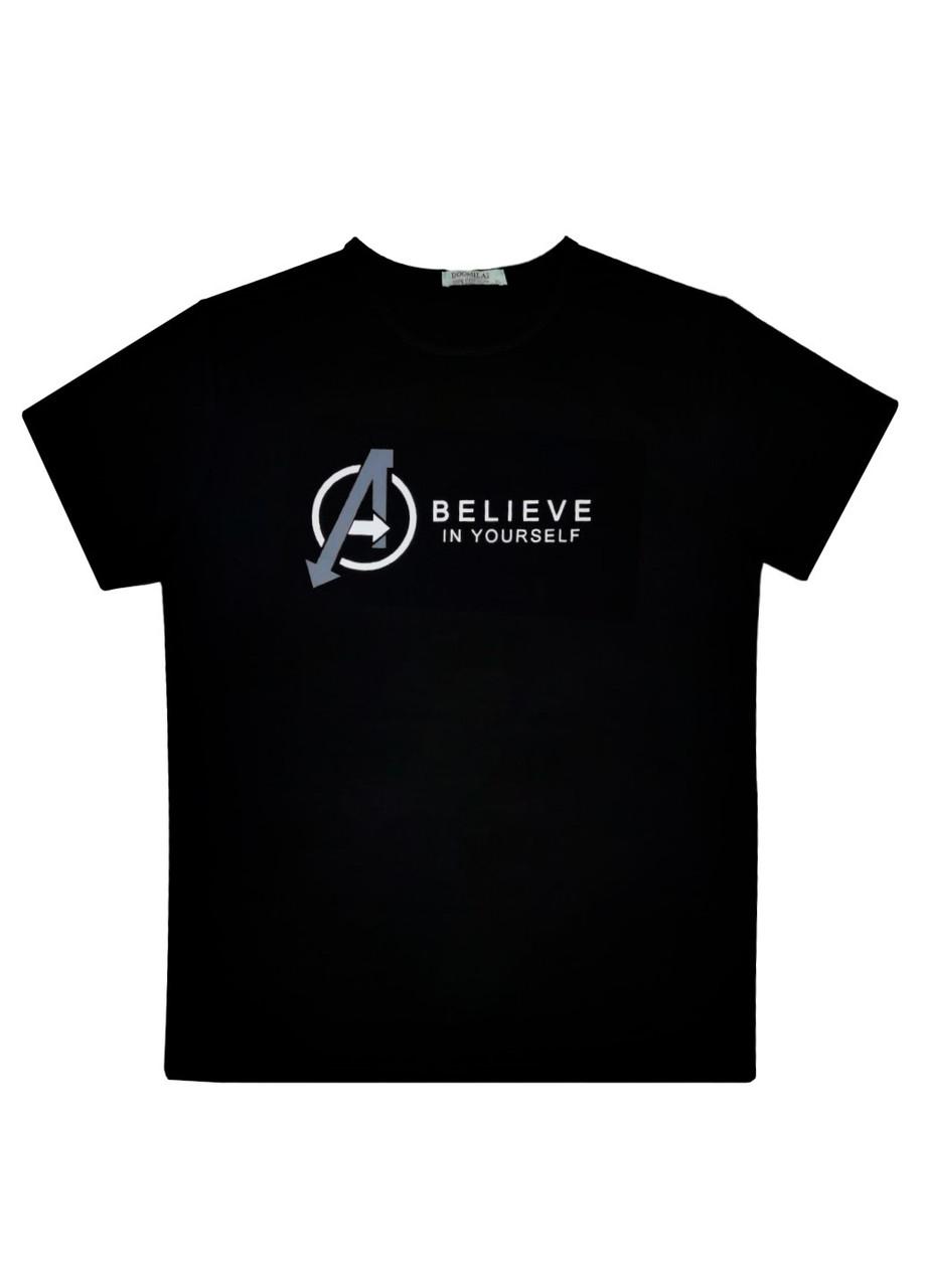 """Мужская футболка 100% Хлопок Марка """"DOOMILAI"""" Арт.1862-H (черный)"""