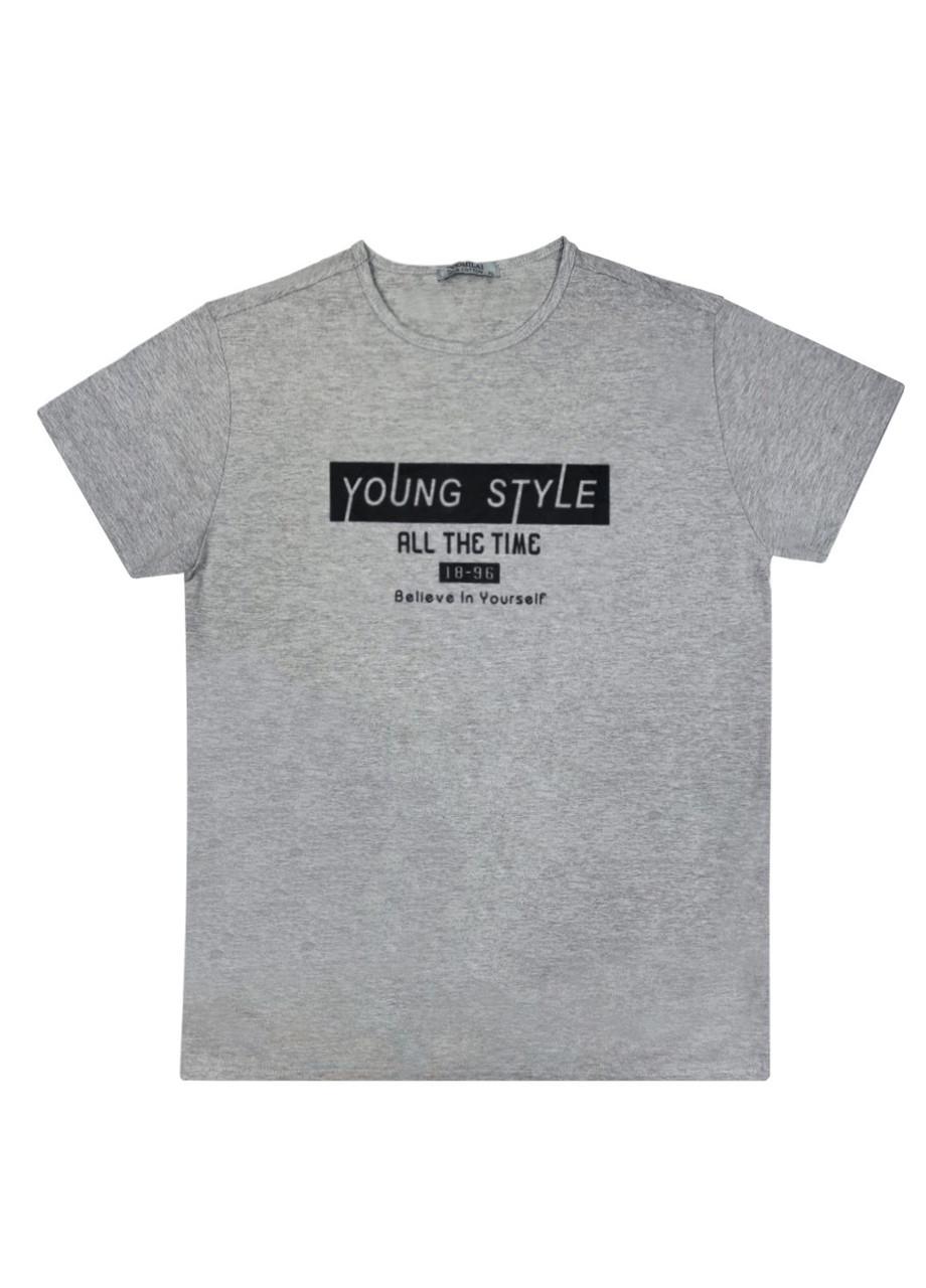 """Мужская футболка 100% Хлопок Марка """"DOOMILAI"""" Арт.1864-A (серая)"""