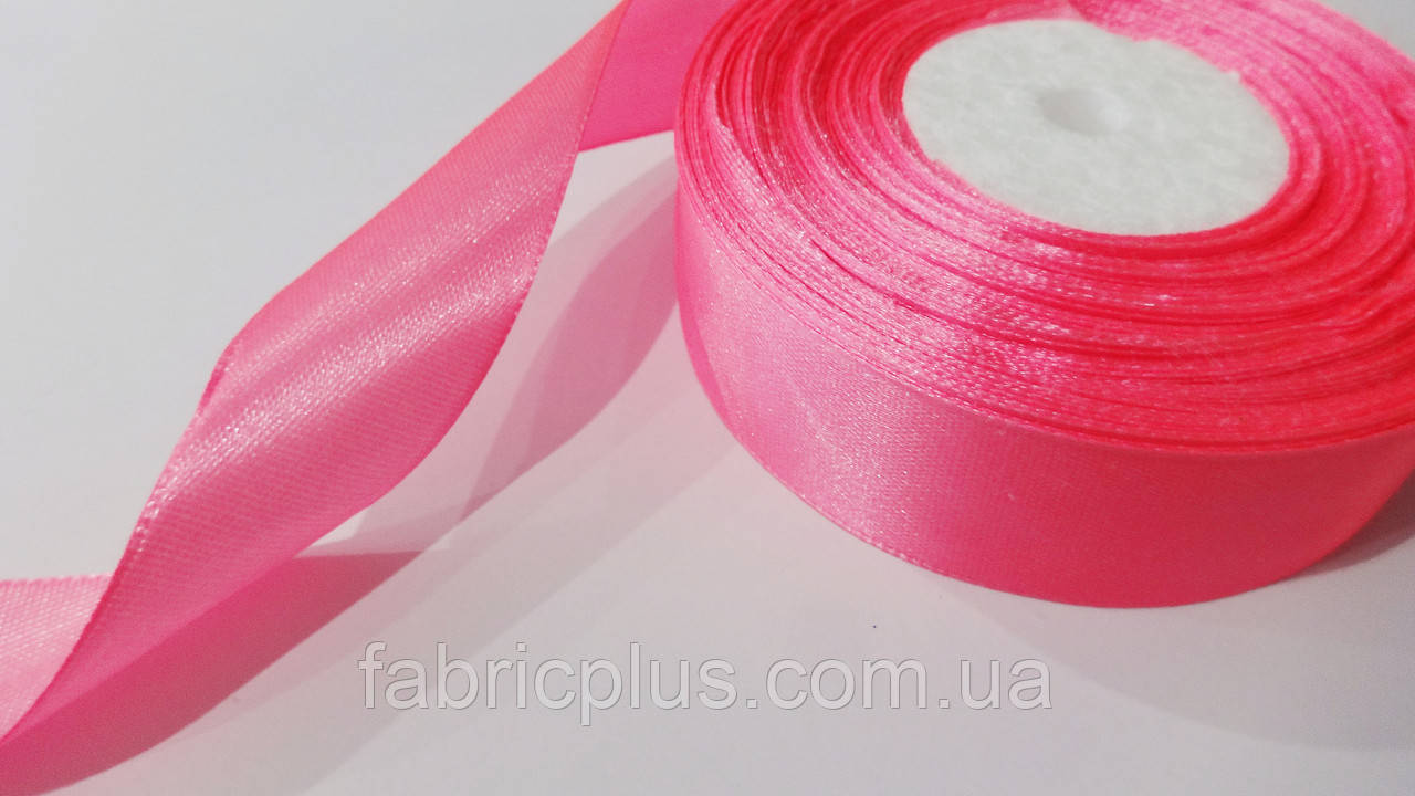 Лента атласная 2,5 см розовый неон (05)