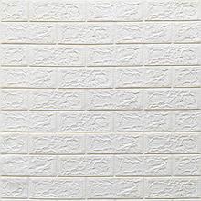 Декоративная 3D панель стеновая самоклеющаяся под кирпич БЕЛЫЙ 700х770х5мм (в упаковке 10 шт)