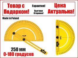 Транспортир угломер с уровнем 0-180 градусов Vorel 18473