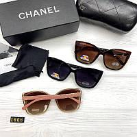 Жіночі сонцезахисні окуляри Шанель репліка Коричневі з поляризацією, фото 1