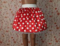 Дитяча червона спідничка на резинці, в білий горошок, фото 1