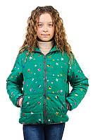 Куртка для девочки сезон весна/осень в зелёном цвете с капюшоном