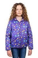 Детская куртка весна/осень в фиолетовом цвете с капюшоном