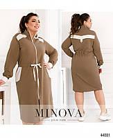 Стильное платье в спортивном стиле, впереди сквозная молния с 50 по 60 размер, фото 3