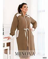 Стильное платье в спортивном стиле, впереди сквозная молния с 50 по 60 размер, фото 4