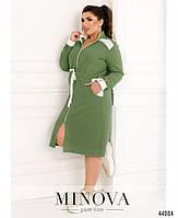 Стильное платье в спортивном стиле, впереди сквозная молния с 50 по 60 размер, фото 10