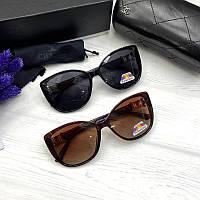 Женские солнцезащитные очки Шанель реплика Черные с поляризацией, фото 1