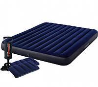Надувной двуместный матрас с подушками и насосом Intex 64765 Интекс Інтекс 152х203х25 см