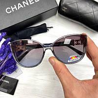 Жіночі сонцезахисні окуляри Шанель репліка Фіолетові з градієнтом з поляризацією, фото 1