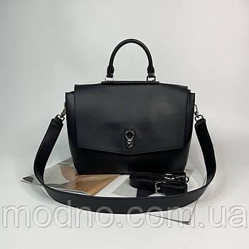 Жіноча шкіряна сумка на плече з двома ремінцями чорна