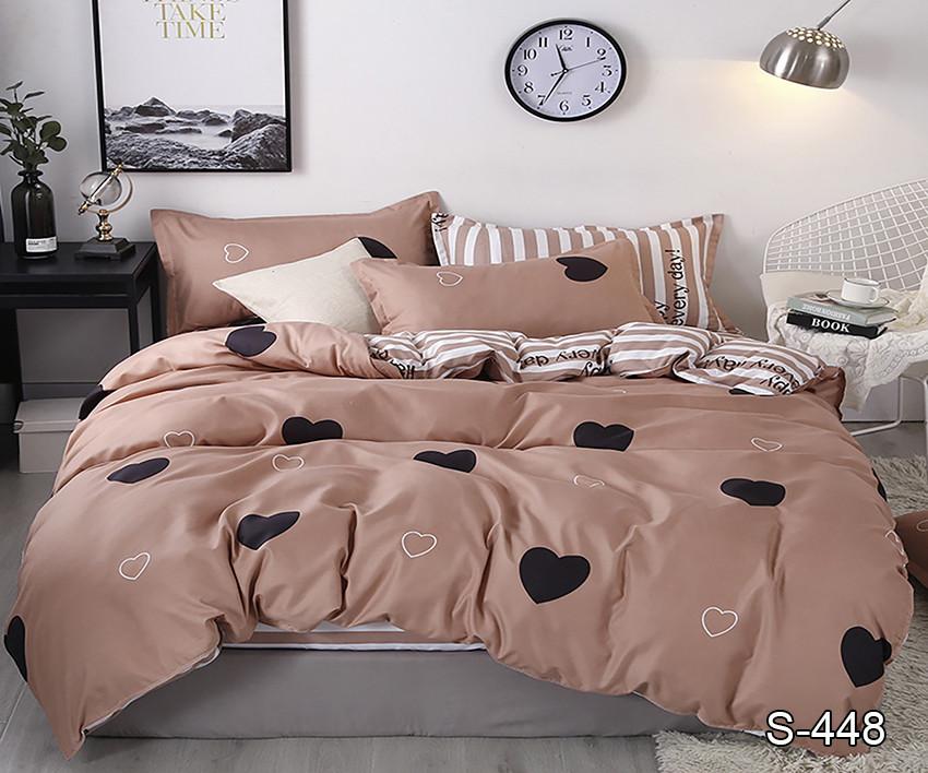 Двуспальный  Евро  комплект постельного белья Сатин Люкс с компаньоном S448