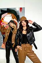 Женская куртка-косуха из эко кожи. Черная