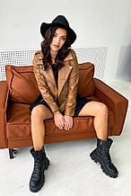 Женская куртка-косуха из эко кожи. Светло-коричневая